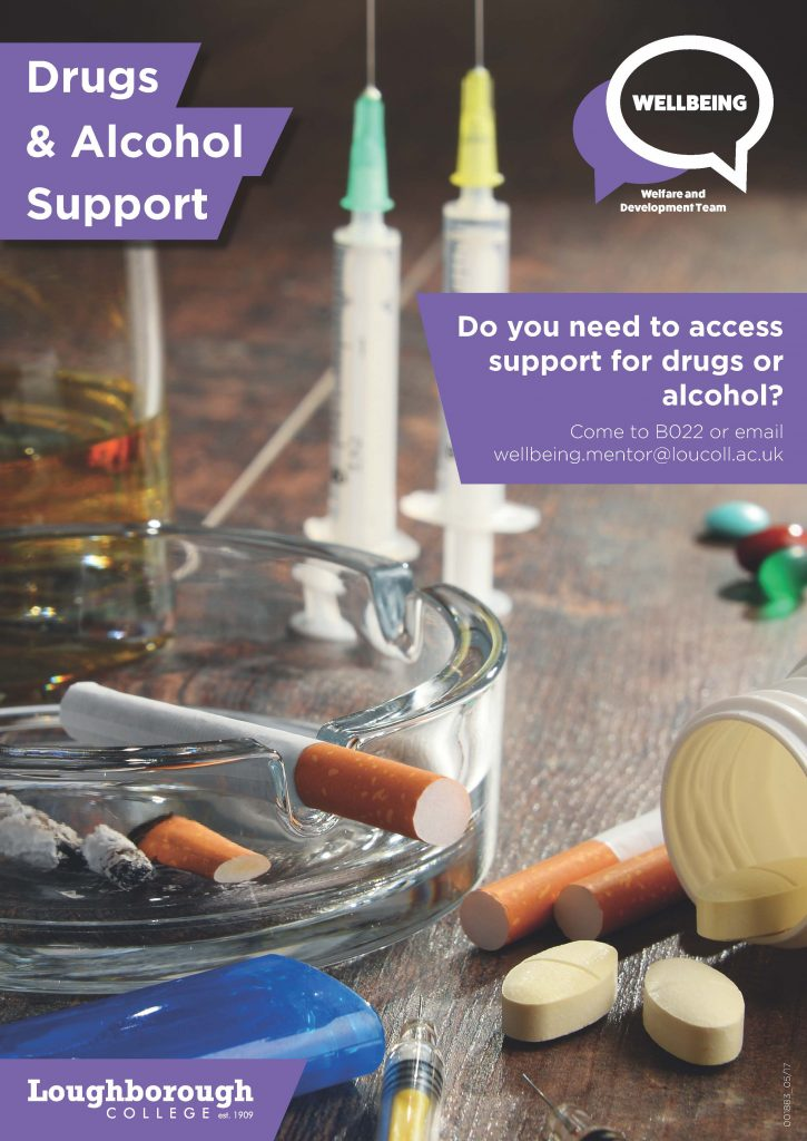 Poster advertising the College Wellbeing Drug and Alchohol support