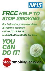 NHS Local Stop Smoking poster, contact 0116 295 4141
